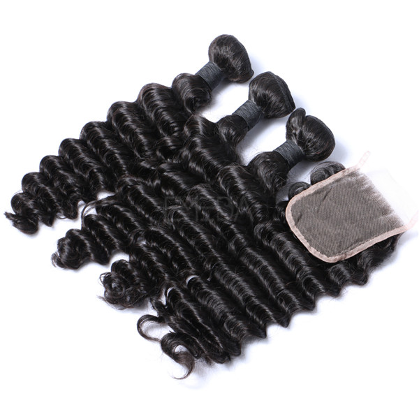 Virgin Human Hair Bundles With Closure Real Human Indian Hair   LM037
