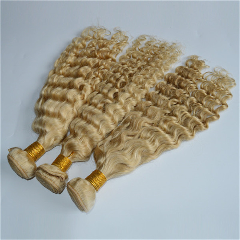 Grade 8A deep wave blonde hollywood hair weave extensions WK129