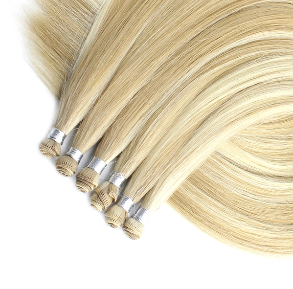 Blonde Hand Tied Hair Weft Extensions Silky Straight  100gm YL318