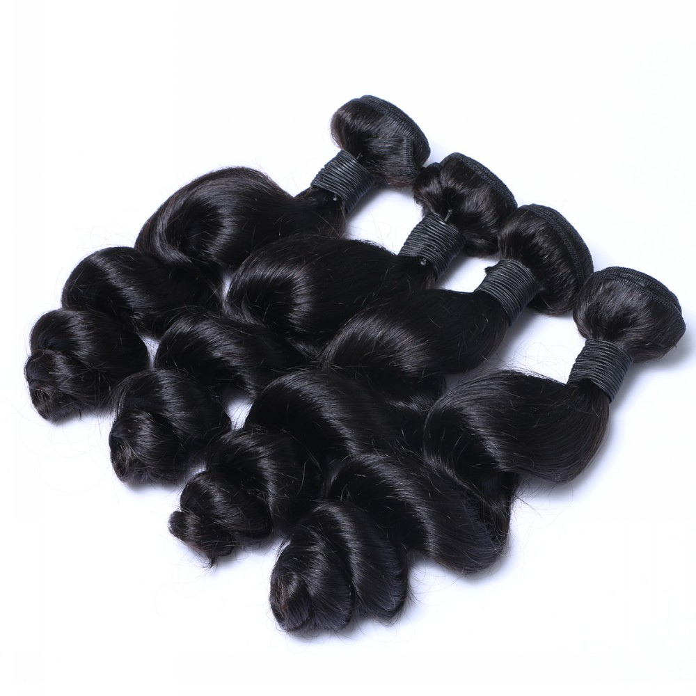 Wholesale factory price 100% virgin Remy unprocessed Loose Wave texture bundles YL202