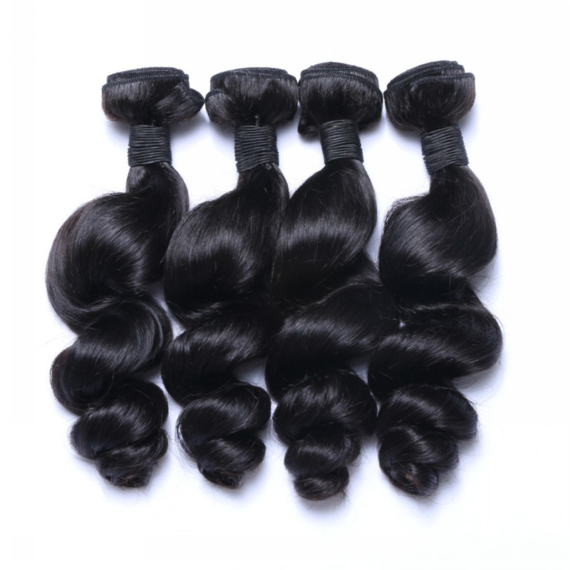 Indian Hair Wholesale Price Loose Wave Hair Weft Natural Color WK044