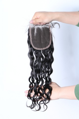 China virgin hair nature black hair weft with lace closure XS012