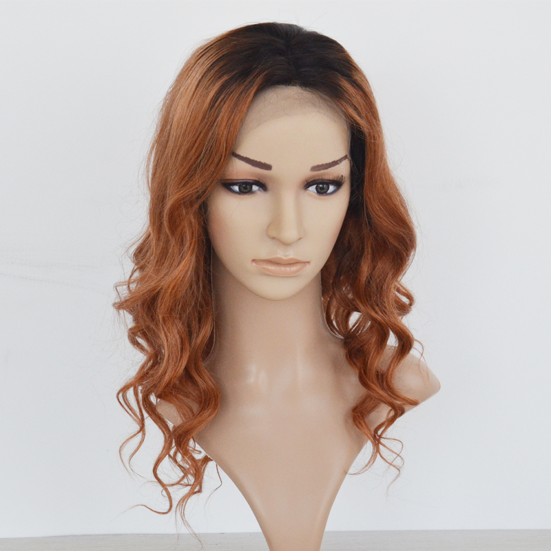2 Tones Ombre color Long Wavy  Hair Lace Front Wigs human hair wig YL212