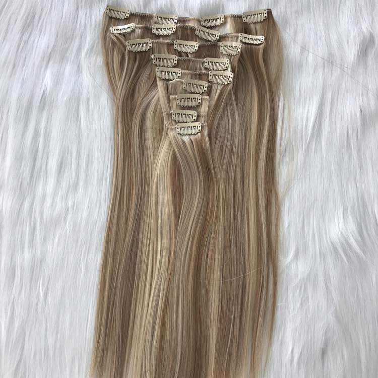 Best balayage piano mixed color double drawn clip in hair extensions 120g WK199