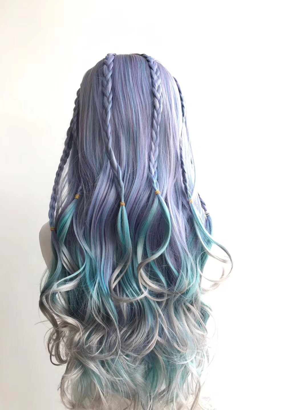 Piano Color Wig Ombre Color Wig with Purple Blue and Grey WK010